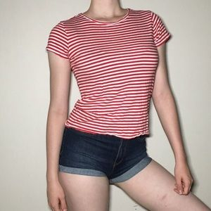 H&M Divided Basic Red and White Striped  Baby Tee